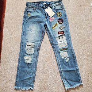 Distressed Patch Jeans Boyfriend Sz 28